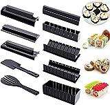 Kit de Preparación de Sushi para Principiantes - Herramienta de Plástico para Hacer Sushi con 8 Formas de Molde de Rollo de Arroz para Sushi y 2 Espátulas de Tenedor para Hacer Sushi en Casa (negro)