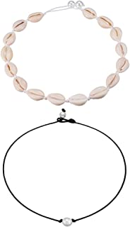 Cowrie Shell Choker Necklace for Women Pearl Cord Necklace Jewelry Set