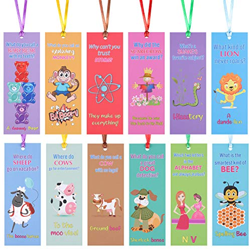 60 Pieces Silly Jokes Bookmarks Funny Animals Bookmarks Cartoon Hilarious Learning Bookmarks with Hanging Ropes for Teachers Students Classroom Rewards Supplies