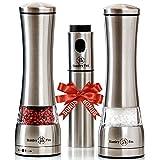 Premium Salt and Pepper Grinder Set of 3 - Oil Dispenser + Stainless Steel Salt Grinder and Pepper Mill–...