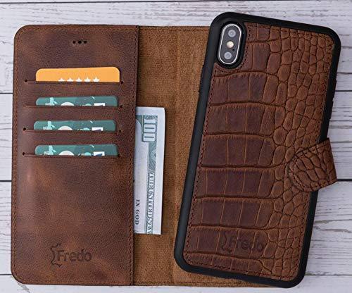 FREDO Funda de piel auténtica para iPhone XS Max con ranuras para tarjetas y dinero en efectivo y funda desmontable 2 en 1 para Apple iPhoneXs Max – Vintage marrón cocodrilo hecho a mano en Europa