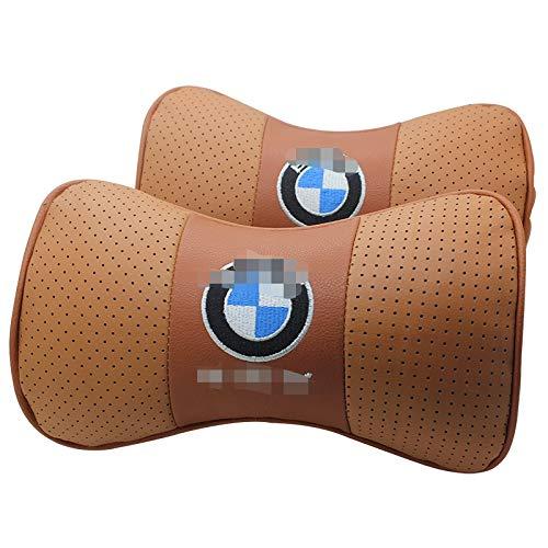Fireman's Pair Genuine Leather Bone-shape Car Seat Neck Rest Headrest Car Cushion Neck Support Pillow Car Driving Travel Kit for E46 E30 E34 E36 E39 E53 E60 E90 F10 F30 M3 M5 M6 Seat Headrest Cushion