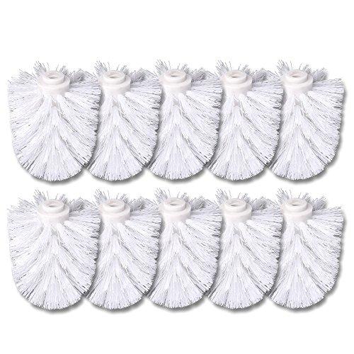 Schramm® 10 Stück WC Ersatzbürstenkopf weiß Ersatzbürsten Bürstenkopf einzeln wechselbar with Toilettenbürste Toilettenbürsten