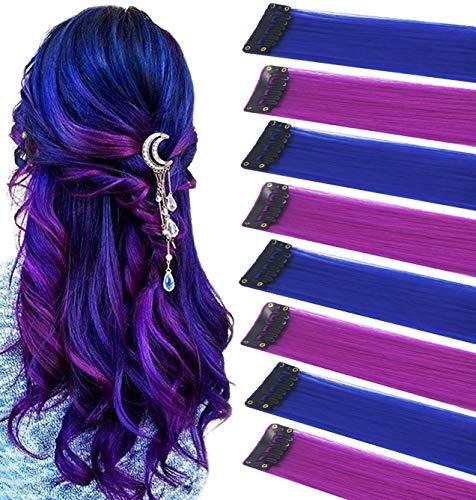 FAIRY COLOR 8PCS Blue Purple Haripieces Extensiones de cabello de colores Clip...