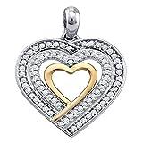 Dazzlingrock Collection - Colgante de corazón de diamante redondo de 0,25 quilates (centro abierto, 2 tonos, 1/4 quilates, oro blanco de 10 quilates)