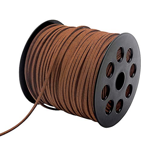 Suede Cord, 2.6mm 100 Yard Faux Leather String for Jewelry Bracelet Necklace Making Beading Thread DIY Crafts (Brown)