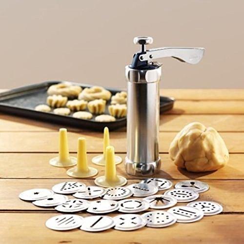 ZREAL Biscuit Press Set Cookie Maker Machine Kit RVS 20 schijven 4 Icing Tips Spritz Deeg Koekjes maken Gereedschap