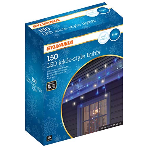 Sylvania Icicle Christmas Lights, Blue and Cool White