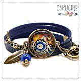 Bracelet 3 Tours Fleurs et Spirale, Bleu Marine et Jaune Orange avec Cabochon Verre, Breloque et Perle en Jade, Métal Bronze, Simili Cuir, Ajustable