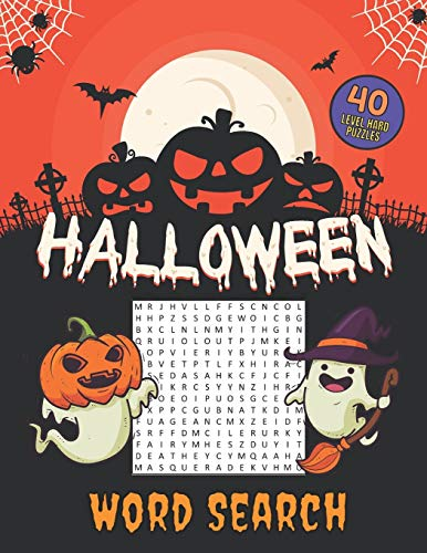 Halloween Word Search 40 Level Hard Puzzles: Crossword Puzzle Brain Game For Adults, Seniors And Clever Kids - Fun Riddles Book With Large Pages Size