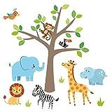 Little Deco Wandaufkleber Safari Dschungeltiere & Baum I Wandbild 161 x 97 cm (BxH) I Elefant Giraffe Sticker Löwe Wandtattoo Kinderzimmer Deko Babyzimmer DL518