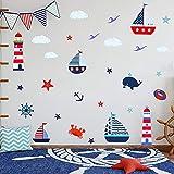 ANHUIB 30 pegatinas de pared para la pared de animales de mar para dormitorio de los niños, pegatinas de pared de colores marinos para habitación del niño, baño, guardería y decoración