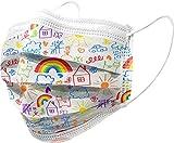 GIMA GISAFE Mascherine Chirurgiche Bambini Filtranti 98% 3 Veli Mascherine Certificate Tipo IIR Elastici e Nasello Modellabile, Busta da 10 Pezzi Traspiranti Leggere, Multicolore (Fantasia Cartoon)