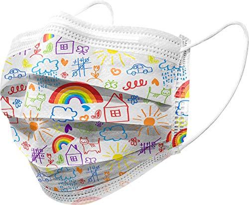 Gima - Gisafe Filtrierende Chirurgische Maske BFE > 98%, zum Einmalgebrauch, 3 Lagen, Typ IIR, für Erwachsene, Cartoonmuster, MP der Klasse I, CE-Kennzeichnung, Flowpack mit 10 Stücken