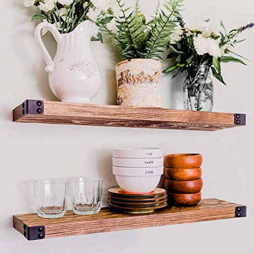 WG WILLOW & GRACE DESIGNS Floating Shelves for Wall Mounted, Modern Rustic All Wood Wall Shelves, Set of 2 for Bedroom, Bathroom, Family Room, Kitchen with Decorative Iron Corners 24 x 6 x 1.5 in