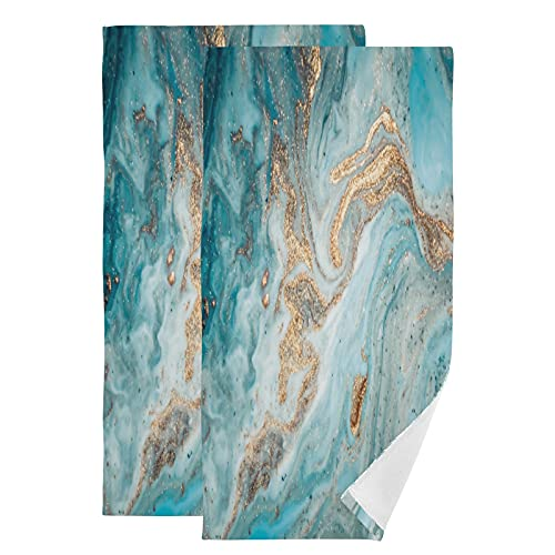 Cotton Hand Towels for Bathroom Set of 2 Pack Turquoise Gold Marble Texture Cute Womens Face Wash Towels Mens Soft Fancy Fingertip Spa Gym Towels Decorative Large
