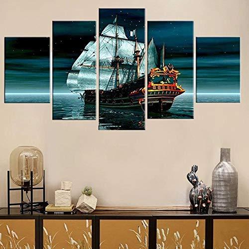 QWASD Paisaje De Mar Barco Cuadro En Lienzo Equipo De 5 Piezas Material Tejido No Tejido Impresión Artística Imagen Decor Pared