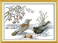 クロスステッチ大人、初心者11ctプレプリントパターン雪の中の鳥40x50cm -DIYスタンプ済み刺繍ツールキットホームの装飾手芸い贈り物40x50cm(フレームがない )