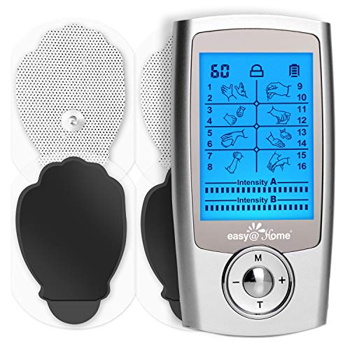 TENS Unit Muscle Stimulator - Easy@Home Electronic Pulse Massager - 510K Cleared for OTC Use Handheld Pain Relief Therapy Device - Pain Management on The Shoulder, Joint, Back, Leg&More (EHE029N)