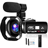 4K HD Camcorder 48MP 30FPS 18X Digital Zoom Video Camera for YouTube Camcorder 3.0 inch Touch Screen IR Night Vision with External Microphone and Remote Control
