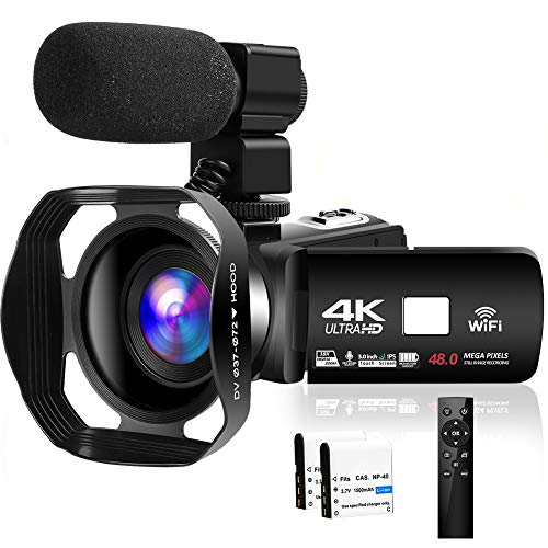 Camcorder Video Camera 4K 48MP WiFi YouTube Camera Night Vision Camcorder Blogging Camera 18X Digital Camera Vlog Video Camera Camcorder with Lens Hoods