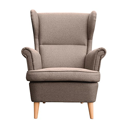 myHomery Sessel Luccy gepolstert - Ohrensessel Polsterstuhl für Esszimmer & Wohnzimmer - Lounge Sessel mit Armlehnen - Eleganter Retro Stuhl aus Stoff mit Holz Füßen - Braun | Sessel