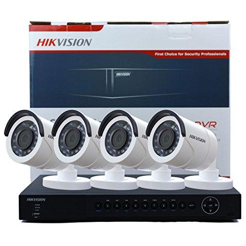 HIkvision DS-7216HUHI-F2/N 16 Canali Turbo HD DVR 4K TVI Nero Supporto Cloud Storage (con Fotocamere Confezione da 4)