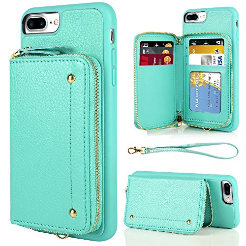 iPhone 8 Plus Wallet Case, iPhone 7 Plus Zipper Wallet Case, LAMEEKU Leather Card Holder Case with Card Slot Wrist Strap Kickstand,Shockproof Protective Cover for iPhone 7 Plus/8 Plus 5.5''-Mint Green