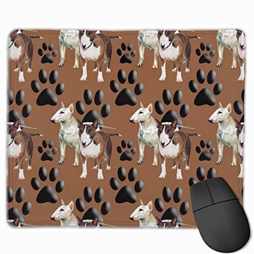 Tappetino per mouse Bull Terrier e zampa con bordi cuciti - Tappetino per mouse da gioco per computer laptop