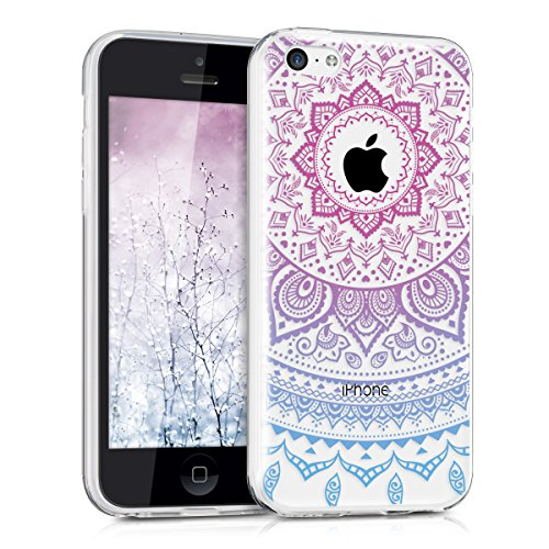 kwmobile Apple iPhone 5C Hülle - Handyhülle für Apple iPhone 5C - Handy Case in Indische Sonne Design Blau Pink Transparent
