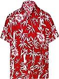 LA LEELA Casual Hawaiana Camisa para Hombre Señores Manga Corta Bolsillo Delantero Surf Palmeras Caballeros Playa Aloha S-(in cms):96-101 Blood Rojo_W344