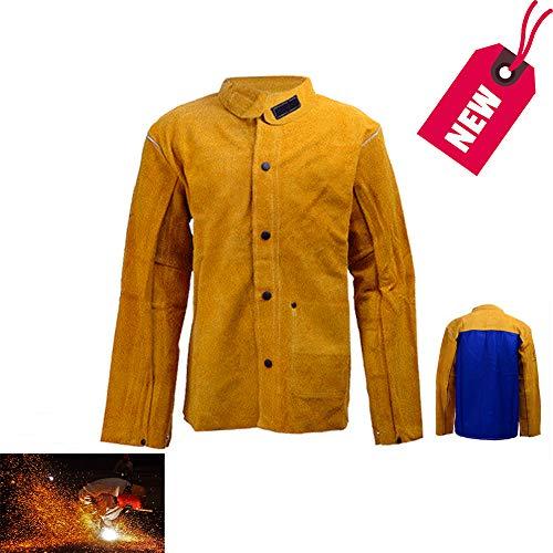 KLFSJD Rindsleder Schweißerjacke, Flammhemmende Lederschürze, Werkstatt Schweißerkleidungsset Für Unisex-Arbeitskleidung,XXXL