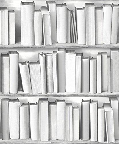 Estantería para libros UGEPa papel pintado para pared, Gris, 578429