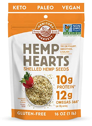 Manitoba Harvest Hemp Hearts Shelled Hemp Seeds, 16oz; 10g Plant-Based Protein & 12g Omegas per Serving, Whole 30 Approved, Vegan, Keto, Paleo, Non-GMO, Gluten Free