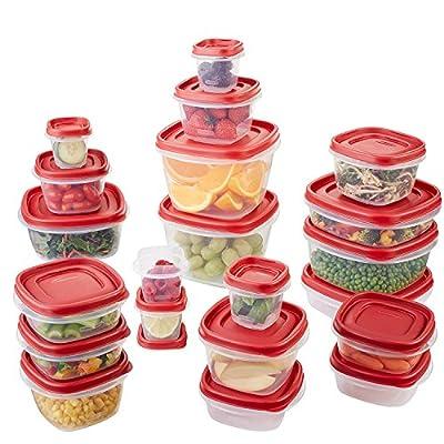 Rubbermaid 7N98 Easy Find Lid Food Storage Container Set, Red