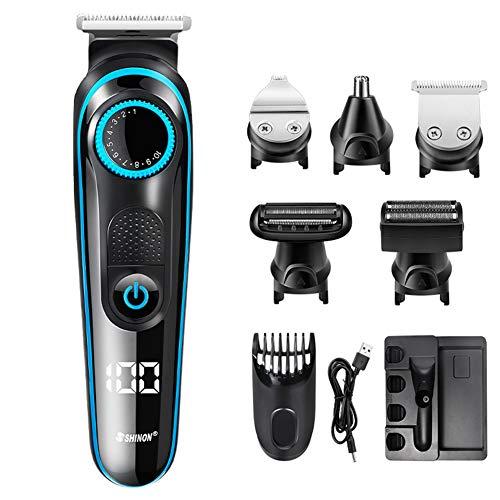 5 in 1 Tondeuse À Cheveux Barber Électrique Tondeuse Nez Barbe Cheveux Rasoir Rasoir Tondeuse Cheveux Hommes USB Coupe Machine Rechargeable pour Homme