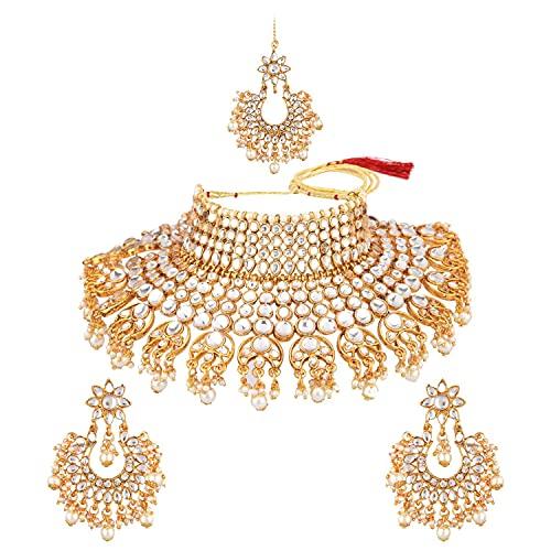 Efulgenz Joyería india antigua Kundan cristal gargantilla collar Chandbaali pendiente Maang Tikka cabeza cadena Bollywood boda joyería conjunto