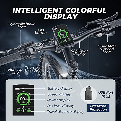 eAhora 26IN Carbon Fiber Ebike 48V 14Ah Removable Battery 21-24Mph Dual Hydraulic Brakes 350W Electric Bike for Adults 46lbs Lightweight EBike 9 Speed Color Display USB Port