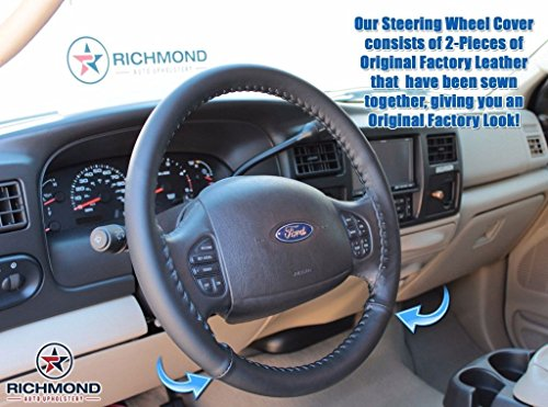 Richmond Auto Upholstery 1999 2000 2001 2002 2003 2004 2005 2006 2007 Ford F250 F350 F450 F550 Lariat - Leather Steering Wheel Cover, Black -  Ford Motor Co, FRSD9907SWCBL-2