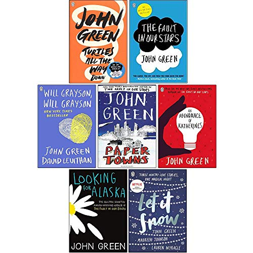 John Green Collection 7 Books Set (Turtles All the Way Down, The Fault in Our Stars, An Abundance of Katherines, Will Grayson Will Grayson, Paper Towns, Looking For Alaska, Let It Snow)