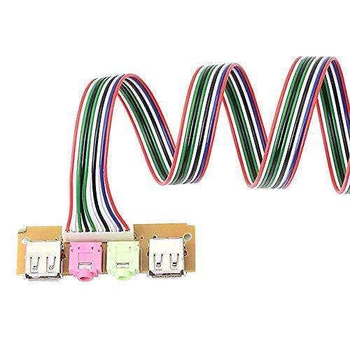 Iycorish 2 Piezas USB Panel Frontal Cable HUB Chasis de Computadora Panel Frontal Puerto de Audio de Escritorio MicróFono Cable de Auricular Gadget 68Cm