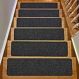 MFXI Paquete de 15 Almohadillas para Escaleras,8' X 30' Alfombras para Peldaños,Alfombrilla de Escaleras Antideslizante con Puntos Autoadhesivos,para Niños y Mascotas