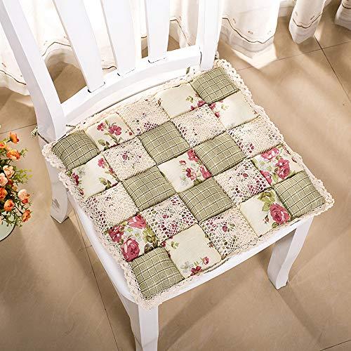 VIMOER Weiche, bequeme Stuhl-Sitzpolster, quadratische Stuhlkissen, Spitze, Blumenmuster, warme Stuhlkissen für Heimbüro (40 x 40 cm), baumwolle, 1103, 40*40cm