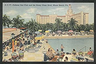 Cabana Sun Club & Roney Plaza Hotel Miami Beach FL postcard 1947