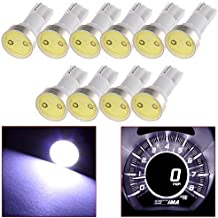 cciyu T5 74 COB LED Light 17 37 58 85 White Instrument Panel Gauge Cluster Dash Light Bulbs,10Pcs