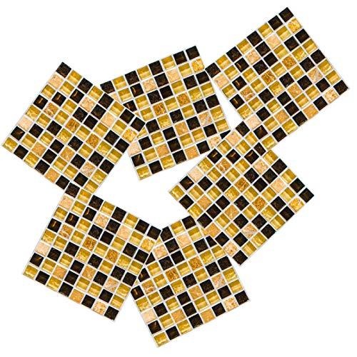 4 pegatinas para azulejos de mosaico, resistentes a altas temperaturas, resistentes al agua, autoadhesivas, de cristal, de PVC, para cocina, baño