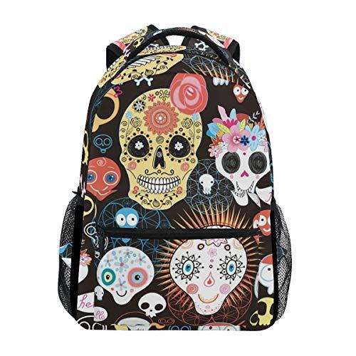 DXG1 Totenkopf Knochen Mexiko Rucksack Damen Herren Teenager Mädchen Jungen Schultasche Geldbeutel Buch Daypack Reise College Schulter Große Kapazität 40,5 x 29 x 20 cm