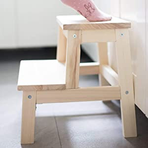 WLG Household Step Stool  Photography Folding Step Stool  Solid Wood Child Baby Wash Your Hands Stool Step Ladder Steppin Adult Shoe Bench