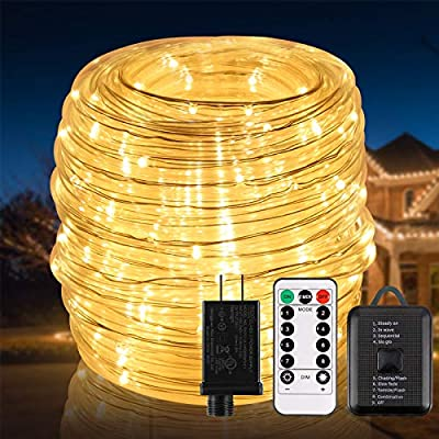 ECOWHO LED Rope Lights, Christmas Lights IP67 Waterproof LED Outdoor Lighting, Connectable Extend to 60m Low Voltage 24v String Lights Plug in Tube for Gazebo Deck Patio Pool Camp Bedroom Path Indoor