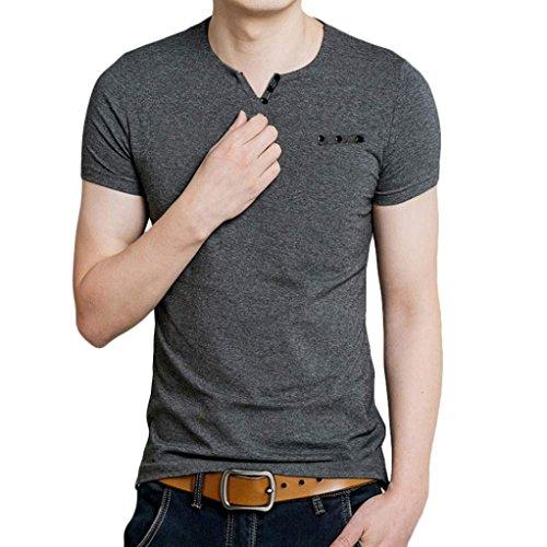 Tefamore Hommes Slim Fit V Collier T-shirt Manches courtes Shirt (L, Gris)